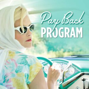 woman-with-headscarf-and-sunglasses-on-teal-background-with-words-pay-back-program